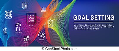 Smart Goals or Goal Setting Icon Set and Web Header Banner