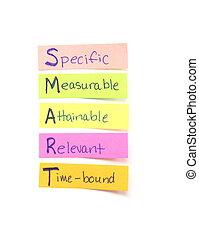 Smart goals sticky notes - Photograph of several sticky...