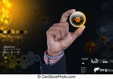 Smart hand showing 3d virus