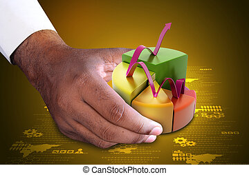 Smart hand showing finance pie chart with growing arrow