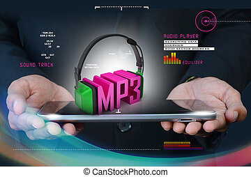 Smart hand  showing head phone with mp3