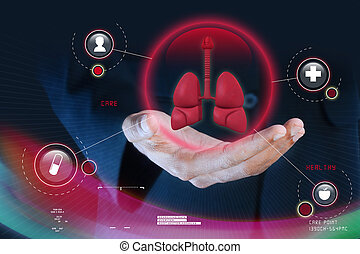 Smart hand showing human lungs