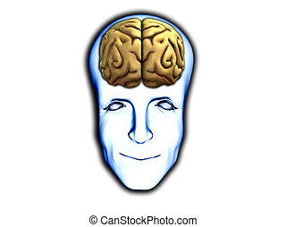Smart Head With Brain - A happy face with visable brain, for...