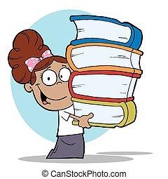 Smart Hispanic School Girl Carrying A Stack Of Books