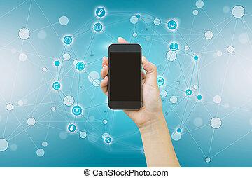 smart, holdingen, media, screen., nätverk, social, ringa, ringa, tom, hand, ikon