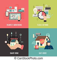Smart home 4 flat icons square - Smart home household ...