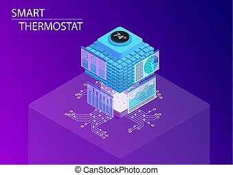 Smart home and smart thermostat concept. 3d isometric vector...