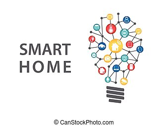 Smart home automation concept. Vector illustration of ...