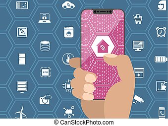 Smart home automation concept with hand holding bezel free smartphone. Symbols and frameless display as vector illustration.
