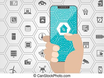 Smart home automation concept with house symbol displayed on...