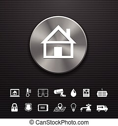Smart home automation technology metal button template with ...