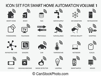 Smart home automation vector icon set in flat design