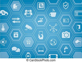 Smart home automation vector illustration background with ...