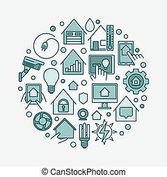 Smart home circular illustration