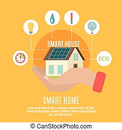 Smart home concept flat icon poster - Smart home household ...