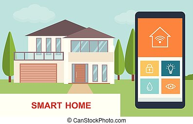 Smart home. Concept of smart house technology system with ...