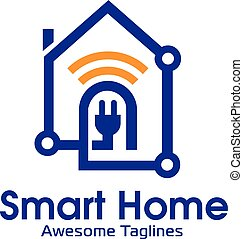 Smart Home connect with wifi simbol