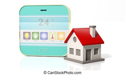 Smart home control device display and house icon, isolated on white background.