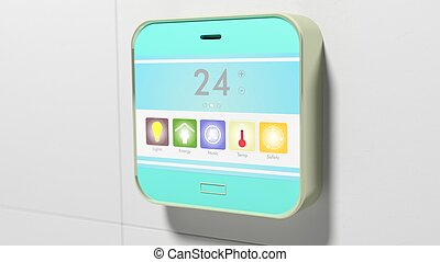 Smart home control device display closeup on wall.