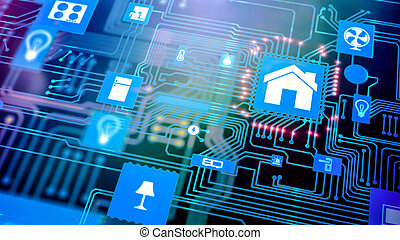 Smart home: Smarthome house automation icon on motherboard, future technology home remote control concept.