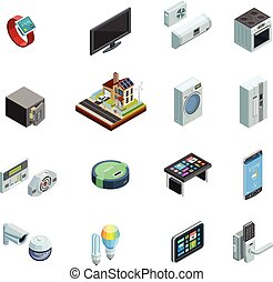 Smart Home Elements Isometric Icons Collection - Smart home ...