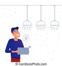 Smart home energy management system concept.