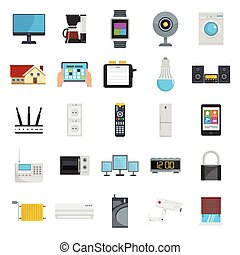 Flat design style vector illustration icons of smart house technology