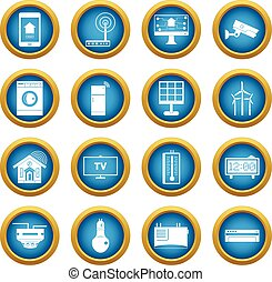 Smart home house icons blue circle set