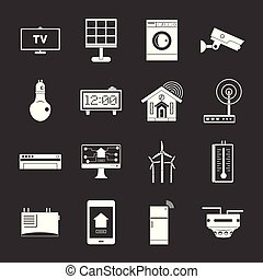 Smart home house icons set grey vector