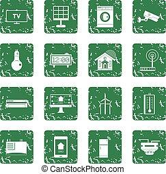 Smart home house icons set grunge