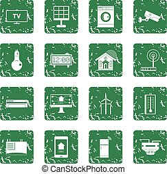 Smart home house icons set grunge