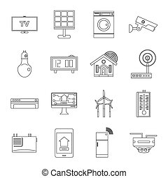 Smart home house icons set, outline style