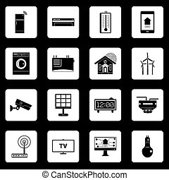 Smart home house icons set squares vector