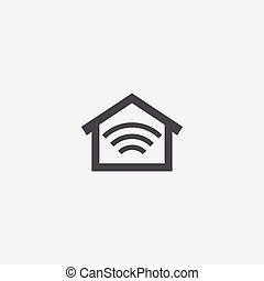 smart home icon, on white background.