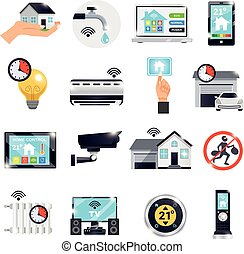 Smart Home Icon Set - Isolated smart home icon set with...