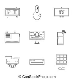 Smart home icon set, outline style