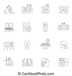 Smart home icons outline - Smart home safety security ...