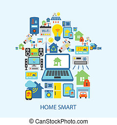 Smart home icons set - Smart home automation technology ...