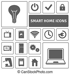 Smart Home Icons Set - Smart home decorative icons set with ...
