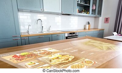 smart home kitchen with virtual displays - technology, ...