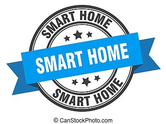 smart home label. smart homeround band sign. smart home stamp