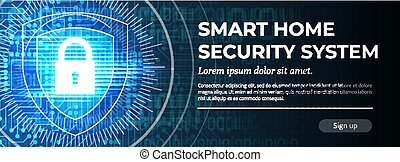 Smart Home Security System - Web Banner Template.