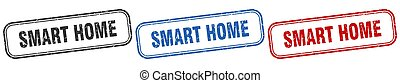 smart home square isolated sign set. smart home stamp