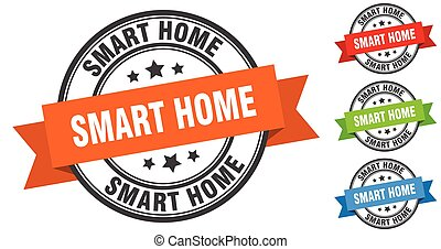 smart home stamp. round band sign set. label