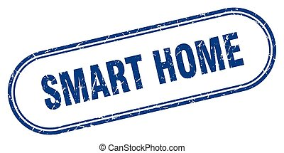 smart home stamp. rounded grunge textured sign. Label