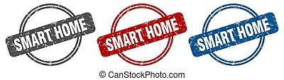 smart home stamp. smart home sign. smart home label set