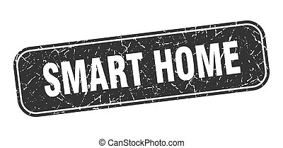 smart home stamp. smart home square grungy black sign