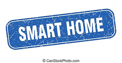 smart home stamp. smart home square grungy blue sign