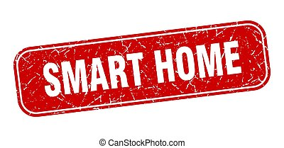 smart home stamp. smart home square grungy red sign