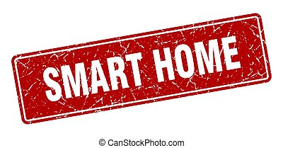 smart home stamp. smart home vintage red label. Sign